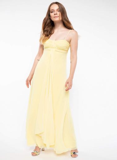 DeFacto İnce Askılı Şifon Abiye Elbise Sarı